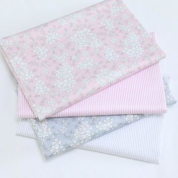 Gray Pink Floral Cotton Fabric Telas Patchwork Tissus an Meter For Diy Needlework Baby Bedding Textile Sewing Doll Clothes Decor