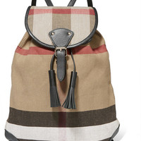 Burberry London - London leather-trimmed checked jute and cotton-blend canvas backpack