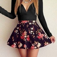 V Neck Floral Print Patchwork Mini Dress