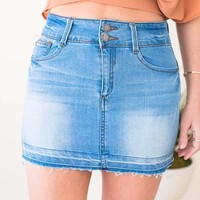 Double Trouble Shadow Hem Denim Skirt