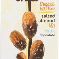 THEO CHOCOLATE: Organic Milk Chocolate with Salted Almonds Bar, 3 oz