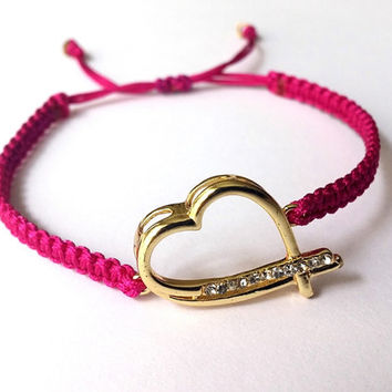 Jewelry, Macrame Bracelet, Gold Heart,  Christmas Gift, Fuschia, Birthday Gift, Adjustable Bracelet, Minimalist, Gift, Fashionable,  For Her