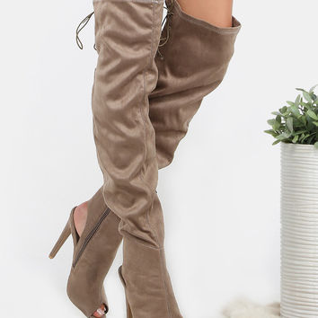 Peep Toe Lace Back Stiletto Boots TAUPE | MakeMeChic.COM