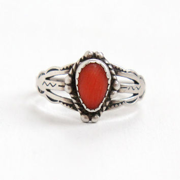 Vintage Sterling Silver Coral Pink Stone Ring- Size 6 Retro Southwestern Native American Jewelry
