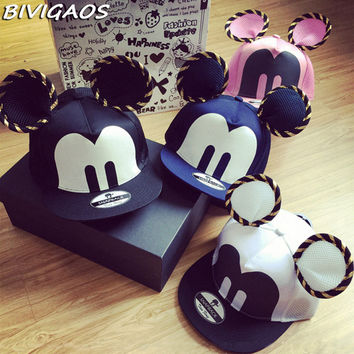 2016 Summer Womens Cartoon Cute Big Mouse Ears Eyes Snapback Hats Mesh Cap Hip Hop Baseball Caps Female Topee Sun Hat For Women