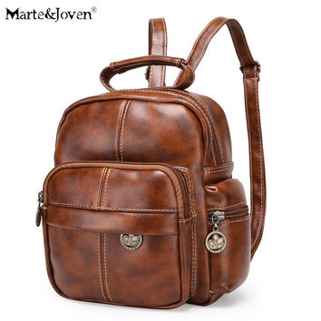 Classic Design Women Vintage PU Leather Backpack Girls Best Mini Schoolbags Back Pack High Quality Brown Retro Rucksack For Lady