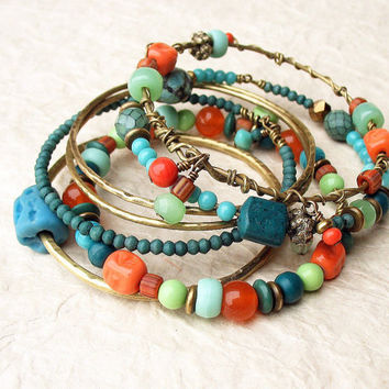 Gypsy Bangle Stack Bracelets Turquoise Nectarine Orange Teal Mint Hammered Bronze Metal Beaded Set of Seven