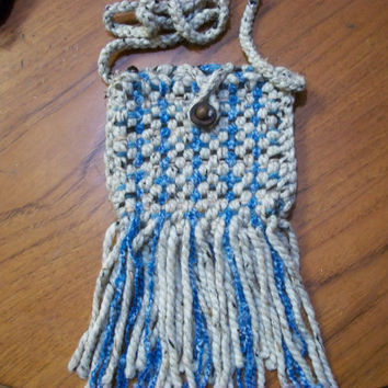 Beige and Blue Fringe Hip Bag, Card, Rune, or Dice Pouch -SCA, Medieval,or Renaissance Fair Coin Purse - Long for Cross Body - ONE of A Kind