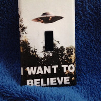 "Light Switch Cover - X-Files ""I want to believe"" single light switch plate home decor"