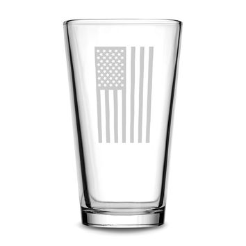 Premium Vertical American Flag Pint Glass