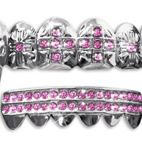 Hip Hop Silver Vampire Fangs Teeth Mouth Grillz Set (Pink Stones)