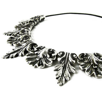 Ethnic Necklace, Tribal Necklace, Silver Tone Large Pendant, Ethnic Jewelrly, Boho Statement Necklace