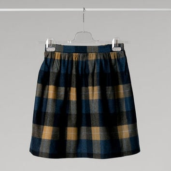 High waisted mini skirt, pure new wool, plaid, blue - yellow - grey, one size, elastic band in the back
