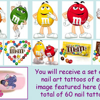 60 x Finger / Toe Nail Art Decals M&Ms M by GlamourStarCreations