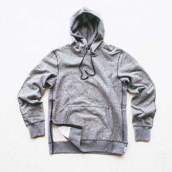 Reigning Champ Knit Heavyweight Pullover Hoodie w/ side zip - Charcoal