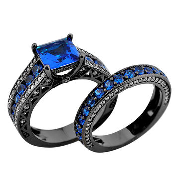 2016 Fashion Style Jewelry Size 5-11 Women Rings Princess Cut Blue Sapphire 10KT Black Gold Filled Ring Set Wedding Band RB0153