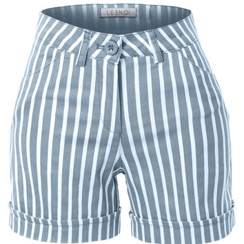 LE3NO Womens Stretchy High Waisted Striped Sailor Shorts with Pockets