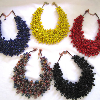 Nepal Handwoven Glass Bib Necklace