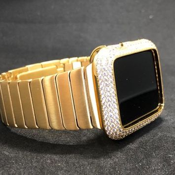 42mm/44mm Apple Watch Band Mens Gold Stainless Butterfly Clasp /Case Cover Bezel Lab Diamonds Rhinestones Crystal Iwatch Bling