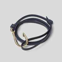 Hook on Navy Leather Bracelet / Brass