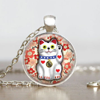 Glass Tile Pendant Lucky Cat Jewelry Cat Necklace Lucky Cat Silver Glass Tile Pendant Necklace, Animal  Cat Jewelry 1 Inch Round