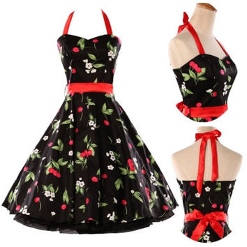 Vintage 1950's Cherry Print Halter Dress Rockabilly Retro Swing punk Pinup Prom Housewife Wedding Xmas Party Prom dress IN SIZE XS S M L XL = 1932248516