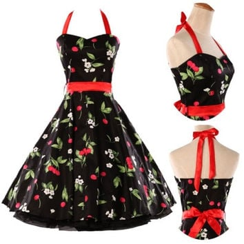 Vintage 1950's Cherry Print Halter Dress Rockabilly Retro Swing punk Pinup Prom Housewife Wedding Xmas Party Prom dress IN SIZE XS S M L XL = 5738841281
