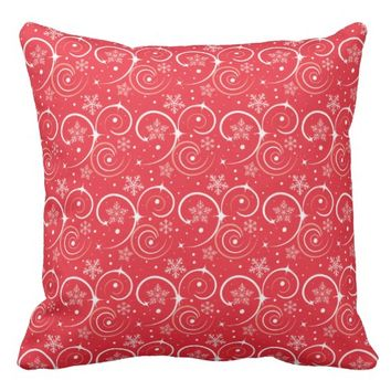 Pretty Red and White Swirls and Snowflakes Throw Pillow