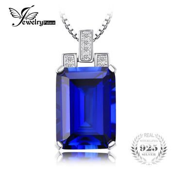 JewelryPalace Luxury Emerald Cut 9.4ct Created Blue Sapphire Pendant Genuine 925 Sterling Silver Jewelry for Women Fine Jewelry