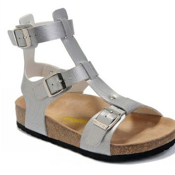 Birkenstock Chania Sandals Snakeskin-silver - Ready Stock