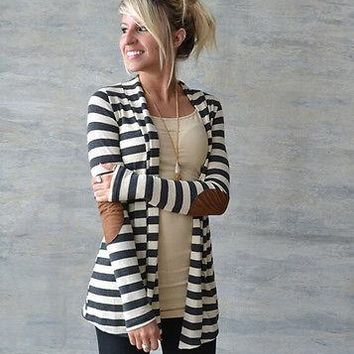 2016 new fall casual Spring autumn striped Women Cardigan Knitted Open Stitch Loose Long Sleeve Sweater Outwear Tops Jacket Coat