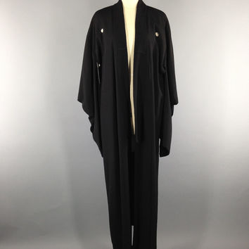 Vintage Silk Kimono / 1930s Black Minimalist  / Long Robe Dressing Gown / Art Deco Gatsby Downton Abbey