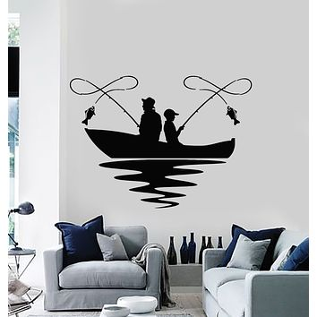 Vinyl Wall Decal Fishing Lake Boat Hobby Fish Club Relax Stickers Mural (g1196)