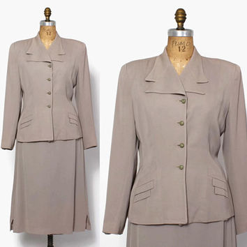 Vintage 40s Gray Gab SUIT / 1940s Tailored Wool Gabardine Blazer Jacket & Pencil Skirt Set M