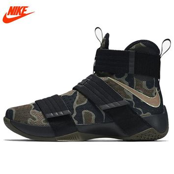 NIKE Original LEBRON SOLDIER 10 Men's Cool Camouflage Basketball Shoes Sneakers