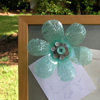 Fridge Magnet, Magnetic Flower, Recycling FLOWER MAGNET,  Recycled Water Bottles Magnets, Teal Flowers, Buttons