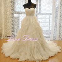 A-Line Sweetheart Wedding Dresses Crystal Beads Sash Wedding Gowns