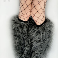 MADE TO ORDER Charcoal gray Fluffies Leg Warmers monster fur furry bootcovers fuzzy boots gogo rave festival costume leggings