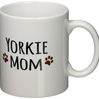 3dRose mug_154219_1 Yorkie Dog Mom Yorkshire Terrier Doggie by Breed Doggy Lover Brown Paw Prints Mama Pet Owner Ceramic Mug, 11-Ounce