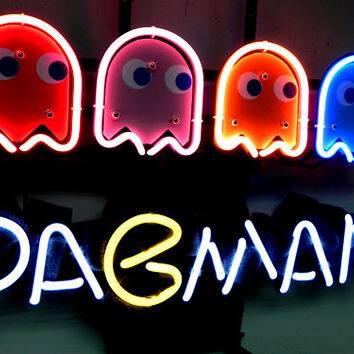 """Brand New PACMAN Ghost Game Neon Light Pub Sign 16""""x13"""" [High Quality]"""