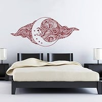 Wall Decals Sun Moon Crescent Dual Ethnic Stars Night Symbol Sunshine Wall Vinyl Decal Stickers Bedroom