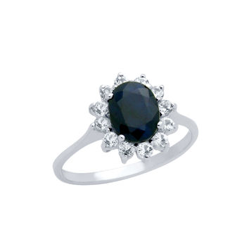 Sea of Diamonds .925 Sterling Silver Oval-Cut Genuine Dark Blue Sapphire Ring With White Topaz