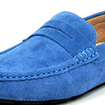 BRUNO MARC Men's Classic Slip-On Suede Leather Penny Loafers