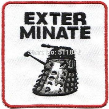 """3"""" Unit Logo Doctor Who DR WHO EXTERMINATE Movie TV Series Costume Cosplay Embroidered Emblem applique iron on patch"""