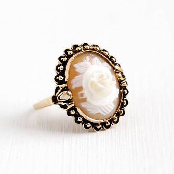Vintage Cameo Ring - 10k Rosy Yellow Gold Genuine Shell Carved Rose Flower Oval Gem - Size 7 1/2 Retro 1960s Victorian Revival Fine Jewelry