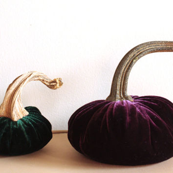 Handmade Velvet Pumpkins for Fall Decorating - Decorative Pumpkins