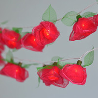 Red Rose Flower String Lights Romantic Light For Bedroom and Wedding Decoration 35 Lights / Set