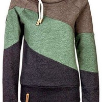 Color Block Long Sleeves Casual Hoodie For Women