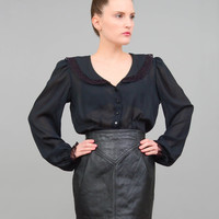 70s Blouse Black Sheer Blouse Lace Collared Shirt Goth Poet Sleeve Vintage See Through Button Up Medium Large M L
