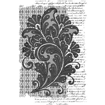 "Crafty Individuals Unmounted Rubber Stamp 4.75""""X7"""" Pkg-Paisley Script Background"